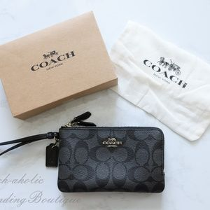 Coach Double Corner Zip Wristlet In Smoke/Black